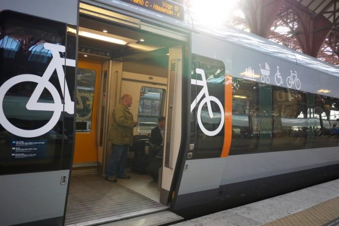 コペンハーゲンの自転車OK電車