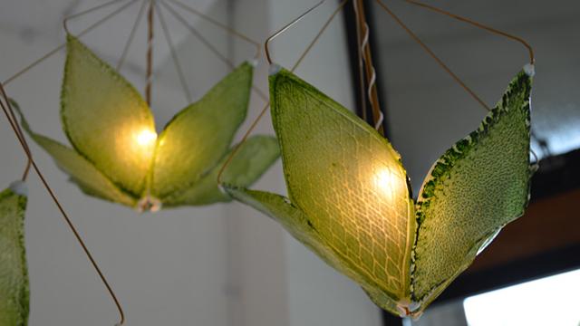 人口の葉のランプシェード