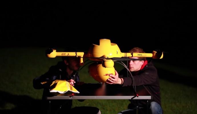 DHLパケットコプターのスタンバイ