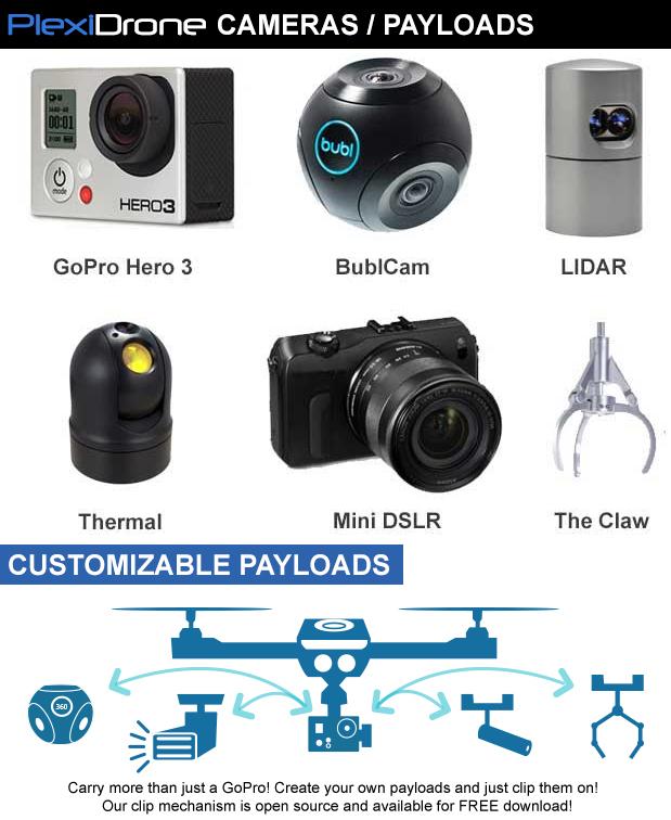 PlexiDroneに装着できる撮影デバイス