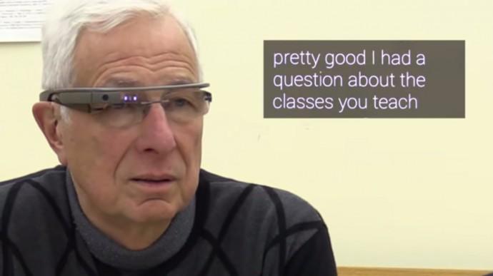 Google Glassに文字が表示される