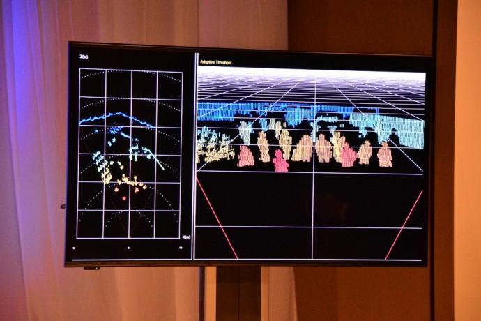 新開発された3Dセンサーで説明会会場の記者をセンシングしたモニター