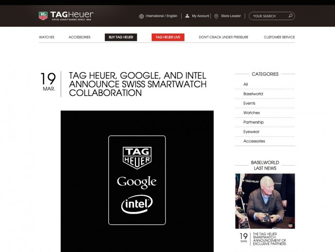 TAG Heuer, Google, and Intel Announce Swiss Smartwatch Collaboration   TAG Heuer