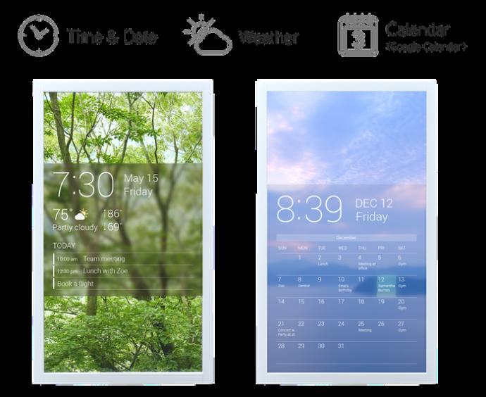 日時や天気も表示