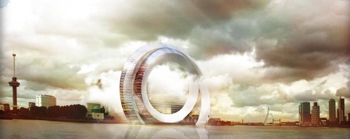 風車のない風力発電装置でエネルギーを生みだす巨大な輪