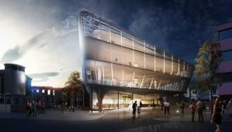 Guy Hollaway Architectsによる複層階スケートパーク外観