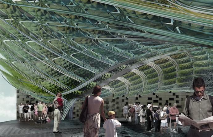 世界初!藻類を利用した「バイオデジタル」キャノピーがエコ建築の新時代を築く