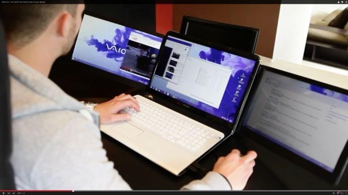 ノートPCの画面を拡張する追加ディスプレイ「Sliden'Joy」