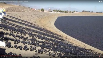 水不足を救えるか!? LA市長が貯水池に大量の黒ボールをぶち込む