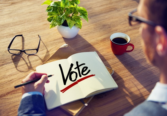 Man with a Note and a Single Word Vote