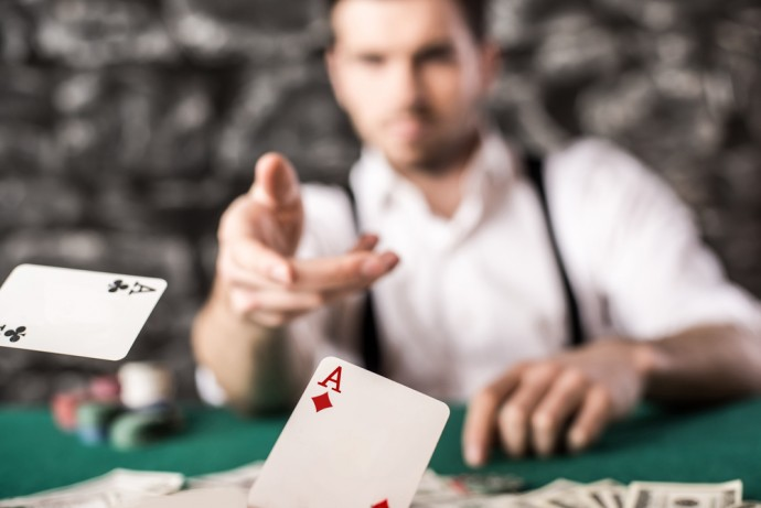cards on poker table
