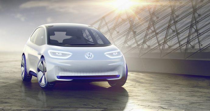 Volkswagen Showcar I.D. I.D. ? die Revolution. Der erste Volkswagen auf der vlig neuen Elektrofahrzeug-Plattform. Der erste Volkswagen, der f・ das automatisierte Fahren vorbereitet ist.
