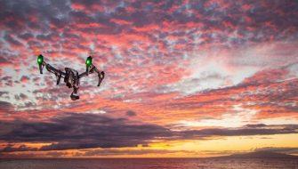 drone-sunset-dusk-sky-clouds-ocean-sea-horizon